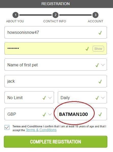 Ladbrokes Promo Code BATMAN100