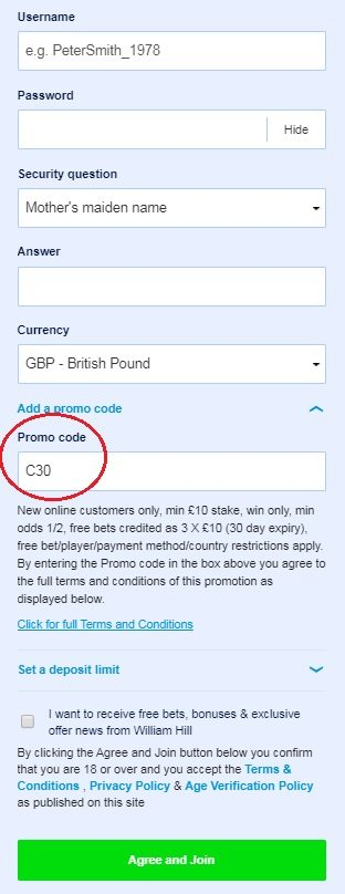 William Hill Promo Code C30