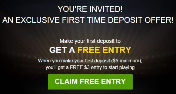 DraftKings Free $3 Entry Ticket Promotion