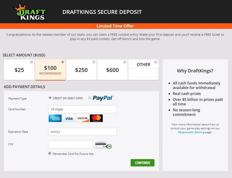DraftKings First Deposit